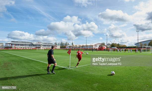 Adam Lewis of Liverpool takes a corner during the U18 friendly match between Liverpool and Burnley at The Kirkby Academy on October 6 2017 in Kirkby...