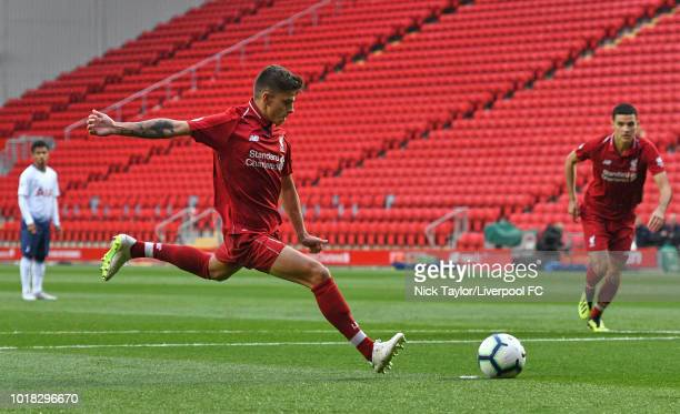 Adam Lewis of Liverpool takes a penalty during the Liverpool v Tottenham Hotspur PL2 game at Anfield on August 17 2018 in Liverpool England