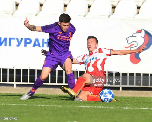 Adam Lewis of Liverpool U19 during the UEFA Youth League match between Red Star Belgrade U19s and Liverpool U19s at the Cukaricki Stadium on November...