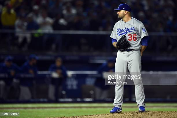 Adam Liberatore of the Los Angeles Dodgers pitches during the game against the San Diego Padres at Estadio de Béisbol Monterrey on Saturday May 5...