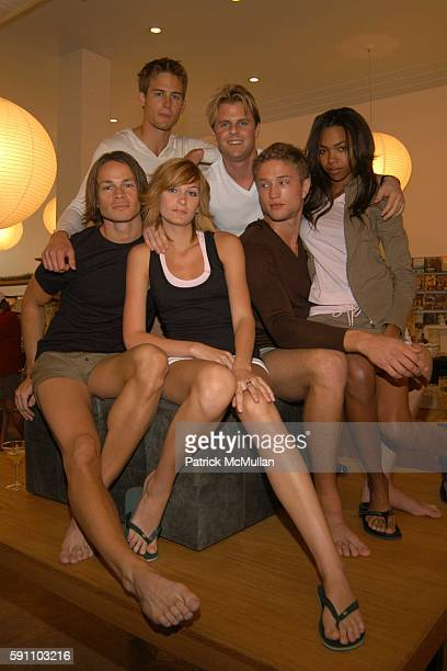 Adam Lippes and Adam Eve models attend Adam Eve Clothing Launch at Base on February 18 2005 in Miami Beach FL