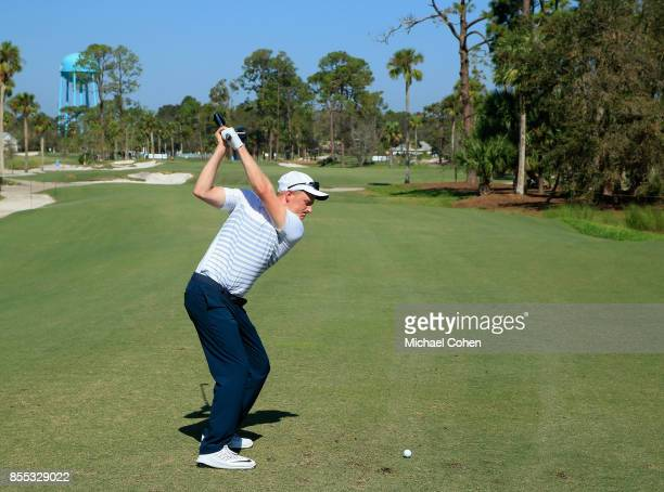 Adam Long hits his drive on the 14th hole during the first round of the Webcom Tour Championship held at Atlantic Beach Country Club on September 28...