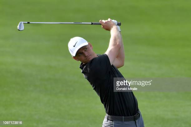 Adam Long of the United States plays a shot during the final round of the Desert Classic at the Stadium Course on January 20 2019 in La Quinta...