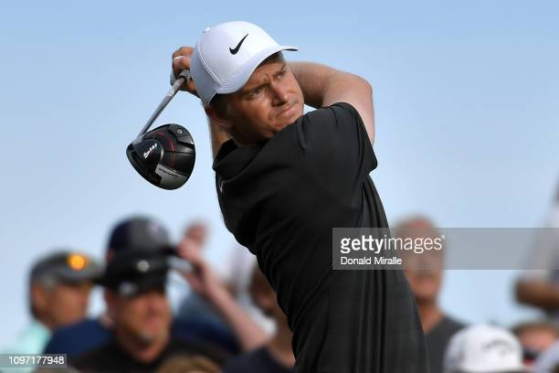 Adam Long of the United States tees off the 16th hole during the final round of the Desert Classic at the Stadium Course on January 20 2019 in La...