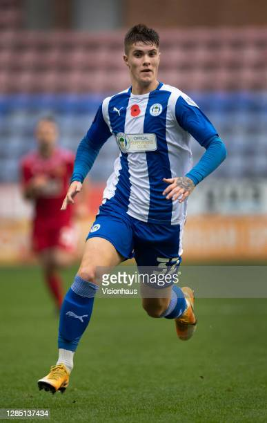 Adam Long of Wigan Athletic in action during the FA Cup 1st round match between Wigan Athletic and Chorley FC at the DW Stadium on November 8, 2020...