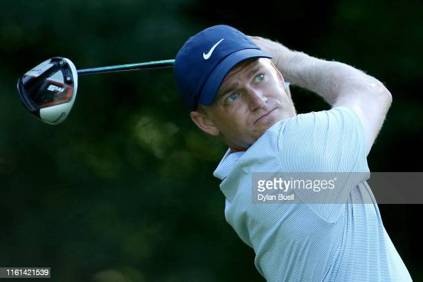 Adam Long plays his shot from the second tee during the first round of the John Deere Classic at TPC Deere Run on July 11 2019 in Silvis Illinois