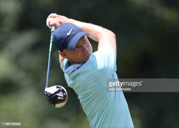 Adam Long swings a driver from the 5th tee during the first round of the Wyndham Championship on August 01 at Sedgefield Country Club in Greensboro,...
