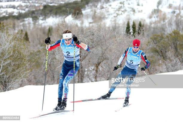 Adam Loomis and Bryan Fletcher compete in the cross country competiton during the US Nordic Combined Olympic Trials on December 30 2017 at Utah...
