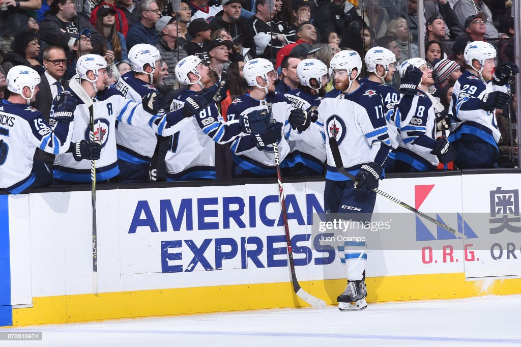 Adam Lowry #17 of the Winnipeg Jets celebrates after scoring a goal against the Los Angeles Kings at STAPLES Center on November 22, 2017 in Los Angeles, California.