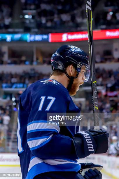 Adam Lowry of the Winnipeg Jets celebrates his second period goal against the Dallas Stars at the Bell MTS Place on January 6 2019 in Winnipeg...