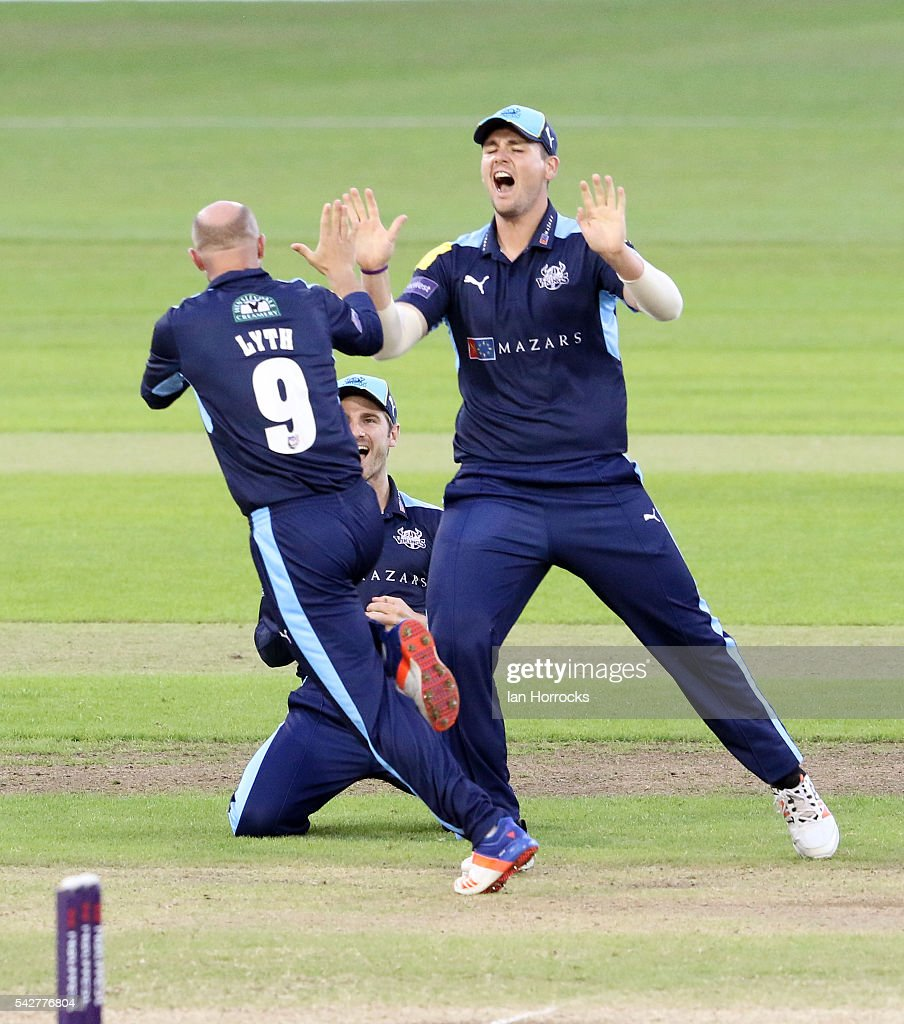 Adam Lyth (#9) celbrates taking the wicket of Ben Stokes with Alex Lees (R) and catcher Kane Williamson during The NatWest T20 Blast game between Durham Jets and Yorkshire Vikings at Emirates Durham ICG on June 24, 2016 in Chester-le-Street, England.