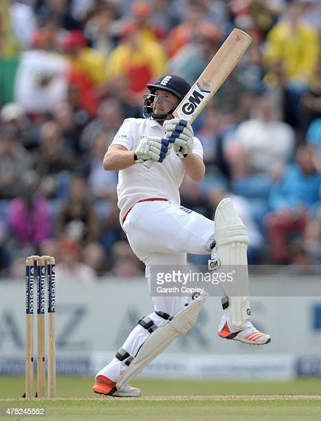 Adam Lyth of England bats during day two of 2nd Investec Test match between England and New Zealand at Headingley on May 30 2014 in Leeds England