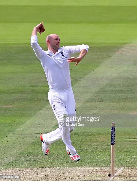 Adam Lyth of England bowling during day one of the 2nd Investec Ashes Test match between England and Australia at Lord's Cricket Ground on July 16...