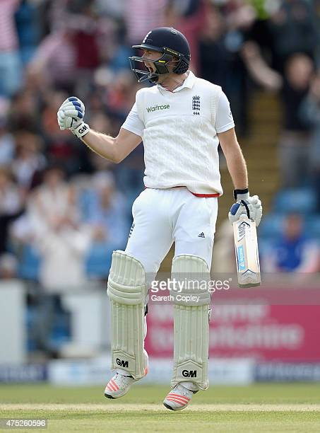 Adam Lyth of England celebrates reaching his century during day two of 2nd Investec Test match between England and New Zealand at Headingley on May...