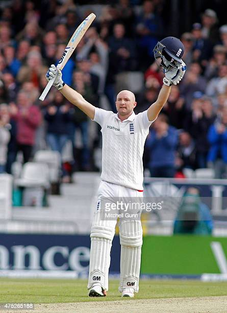 Adam Lyth of England celebrates scoring a century during day two of the England v New Zealand 2nd Investec Test match at Headingley Cricket Ground on...