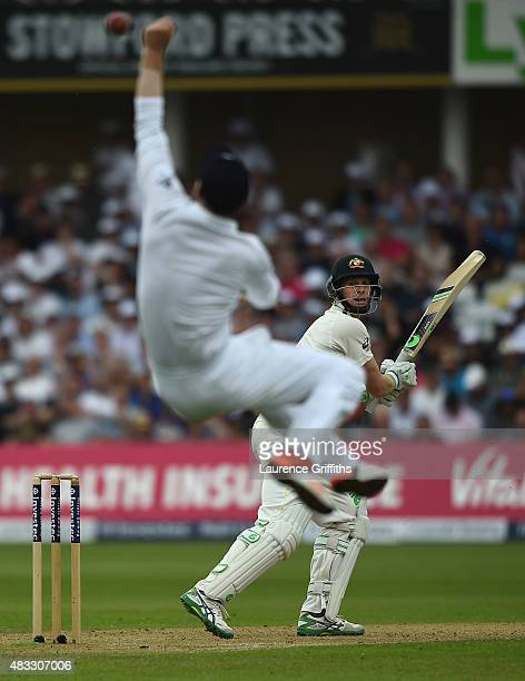 Adam Lyth of England dives to try and catch a chance from Adam Voges of Australia during day two of the 4th Investec Ashes Test match between England...