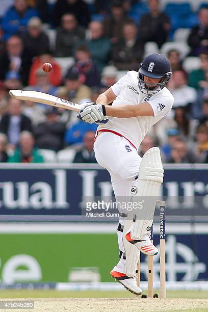 Adam Lyth of England hits the ball during day two of the England v New Zealand 2nd Investec Test match at Headingley Cricket Ground on May 30 2015 in...