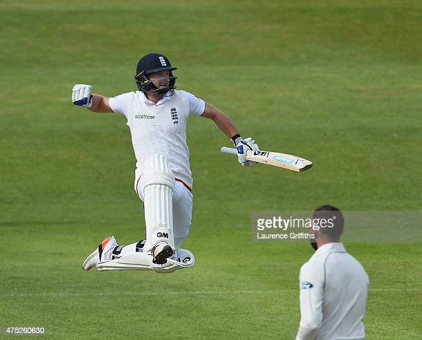 Adam Lyth of England jumps for joy as he celebrates his century during day two of the 2nd Investec Test Match between England and New Zealand at...