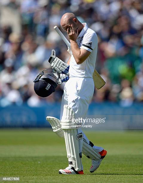 Adam Lyth of England leaves the field after being dismissed by Peter Siddle of Australia during day three of the 5th Investec Ashes Test match...