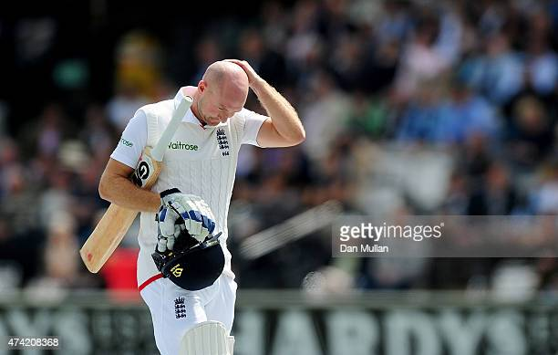 Adam Lyth of England leaves the field dejected after being dismissed by Tim Southee of New Zealand during day one of the 1st Investec Test match...