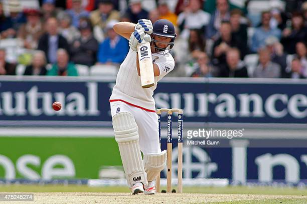 Adam Lyth of England plays a shot during day two of the England v New Zealand 2nd Investec Test match at Headingley Cricket Ground on May 30 2015 in...