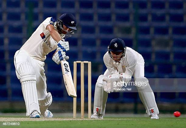 Adam Lyth of Yorkshire bats during the Champion County match between Marylebone Cricket Club and Yorkshire at Sheikh Zayed Stadium on March 22 2015...