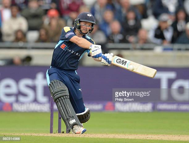 Adam Lyth of Yorkshire bats during the Natwest T20 Blast match between Yorkshire and Durham at Edgbaston cricket ground on August 20 2016 in...
