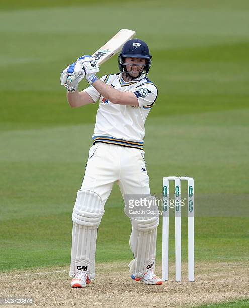 Adam Lyth of Yorkshire bats during the Specsavers County Championship Division One match between Warwickshire and Yorkshire at Edgbaston on April 24...