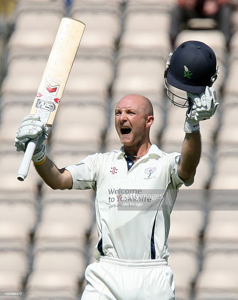 Adam Lyth of Yorkshire celebrates his century during the LV= County Championship Division One match between Hampshire and Yorkshire at The Rose Bowl on May 24, 2010 in Southampton, England.