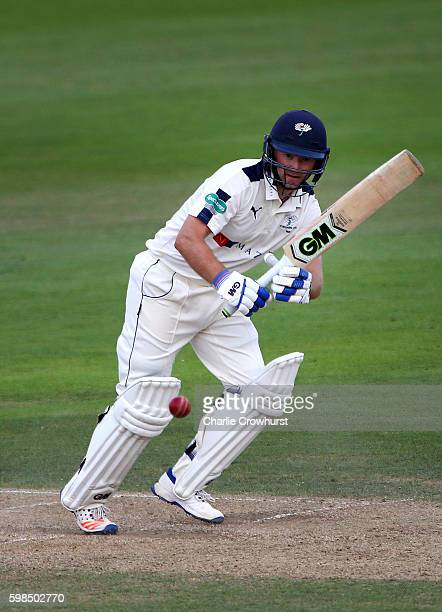Adam Lyth of Yorkshire hits out during day two of the Specsavers County Championship Division One match between Hampshire and Yorkshire at Ageas Bowl...