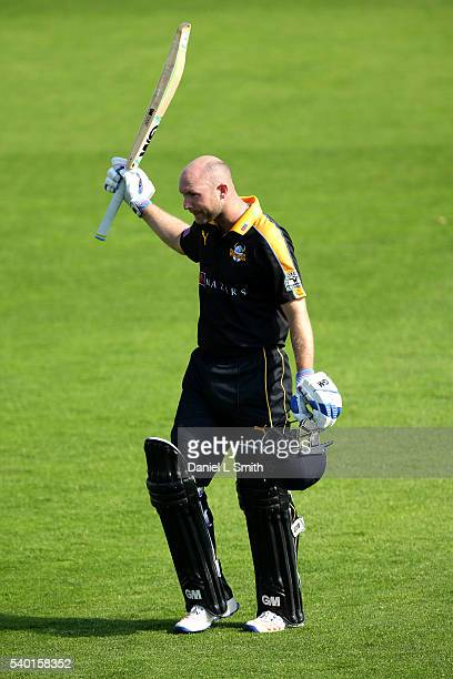 Adam Lyth Of Yorkshire salutes the crowd after being dismissed for 125 during the Royal London OneDay Cup match between Yorkshire and...