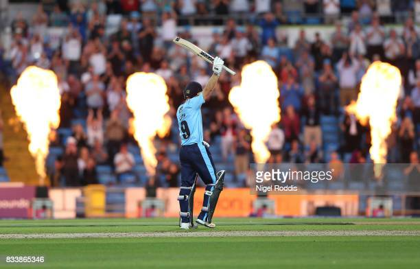 Adam Lyth of Yorkshire Vikings celebrates hitting 150 during the NatWest T20 Blast at Headingley on August 17 2017 in Leeds England