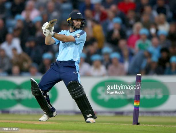 Adam Lyth of Yorkshire Vikings during the NatWest T20 Blast between Yorkshire Vikings and Lancashire Lightning at Headingley on August 11 2017 in...