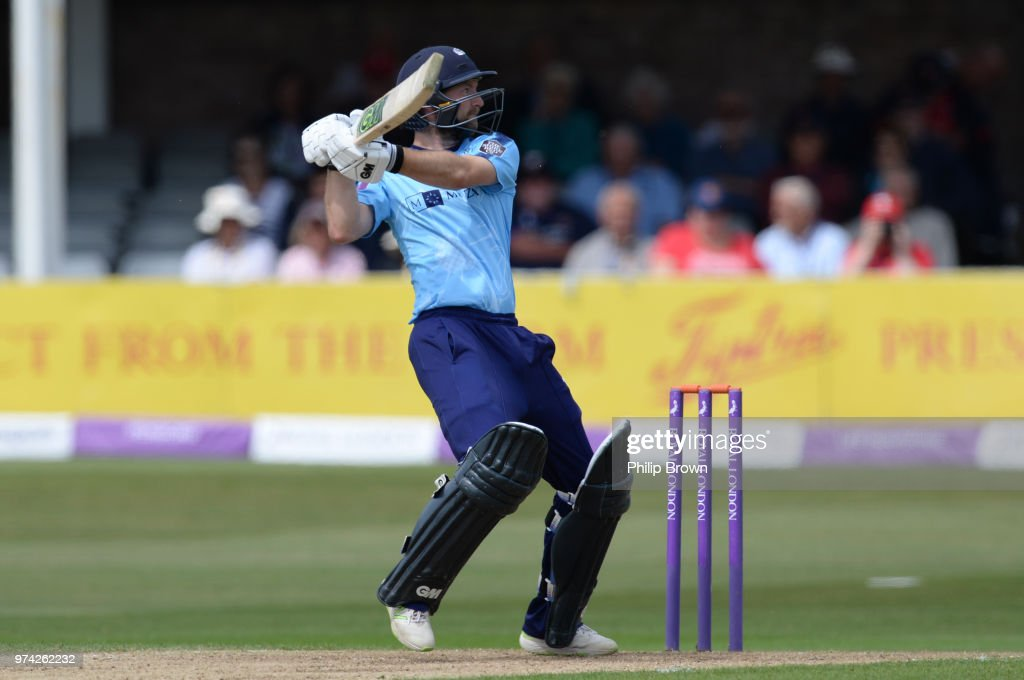 Adam Lyth of Yorkshire Vikings hits the ball in the air and is caught during the Royal London One-Day Cup match between Essex Eagles and Yorkshire Vikings at the Cloudfm County Ground on June 14, 2018 in Chelmsford, England.