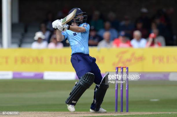 Adam Lyth of Yorkshire Vikings hits the ball in the air and is caught during the Royal London OneDay Cup match between Essex Eagles and Yorkshire...