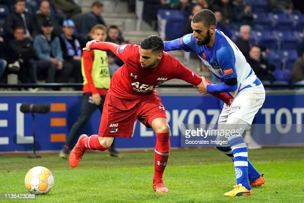 Adam Maher of AZ Alkmaar Delano Burgzorg of De Graafschap during the Dutch Eredivisie match between De Graafschap v AZ Alkmaar at the De Vijverberg...