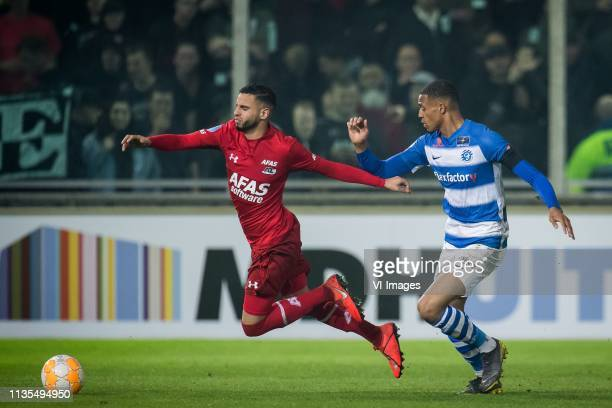 Adam Maher of AZ Delano Burgzorg of De Graafschap during the Dutch Eredivisie match between De Graafschap Doetinchem and AZ Alkmaar at De Vijverberg...