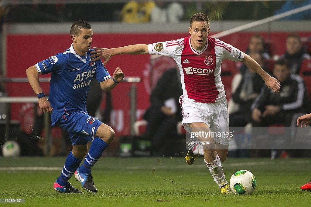 Adam Maher of AZ, Niklas Moisander of Ajax during the Dutch Cup match between Ajax Amsterdam and AZ Alkmaar at the Amsterdam Arena on february 27, 2013 in Amsterdam, The Netherlands