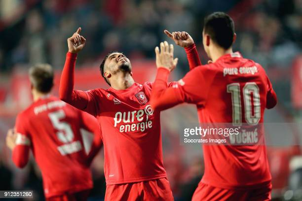 Adam Maher of FC Twente celebrates 21 with Haris Vuckic of FC Twente during the Dutch KNVB Beker match between Fc Twente v SC Cambuur at the De...