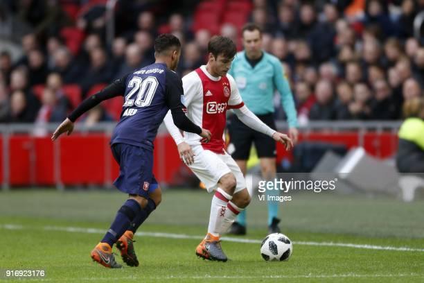 Adam Maher of FC Twente Nico Tagliafico of Ajax during the Dutch Eredivisie match between Ajax Amsterdam and FC Twente Enschede at the Amsterdam...