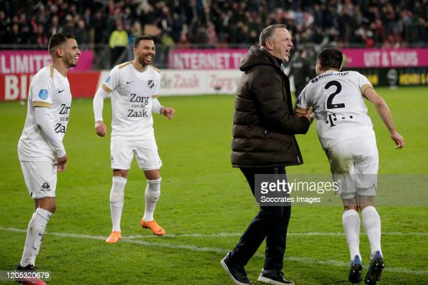 Adam Maher of FC Utrecht coach John van den Brom of FC Utrecht Mark van der Maarel of FC Utrecht celebrates the victory during the Dutch KNVB Beker...