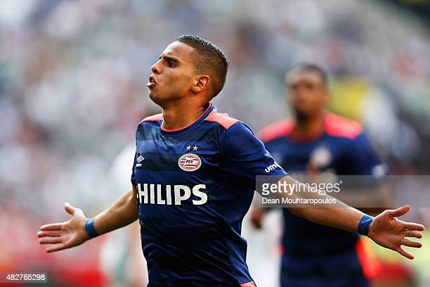 Adam Maher of PSV celebrates scoring his teams second goal of the game during the Johan Cruijff Shield match between FC Groningen and PSV Eindhoven...