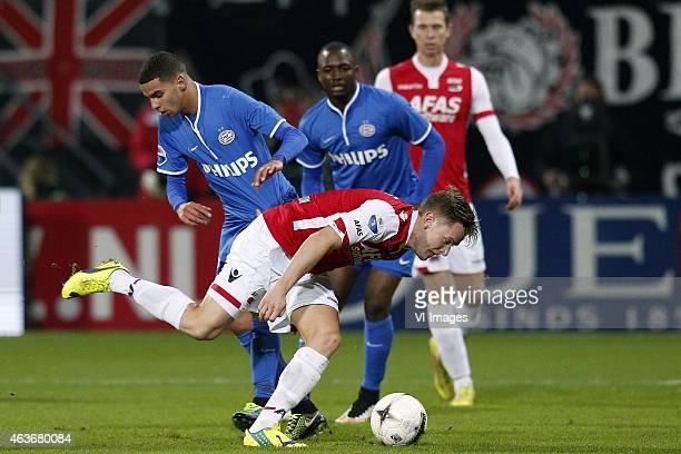 , Adam Maher of PSV, Mattias Johansson of AZ during the Dutch Eredivisie match between AZ Alkmaar and PSV Eindhoven at AFAS stadium on February 13,...