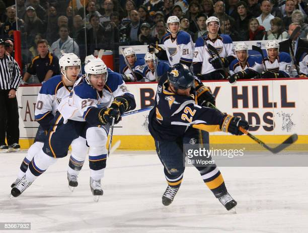 Adam Mair of the Buffalo Sabres scores a first period goal shooting in front of Alex Pietrangelo of the St. Louis Blues on November 12, 2008 at HSBC...