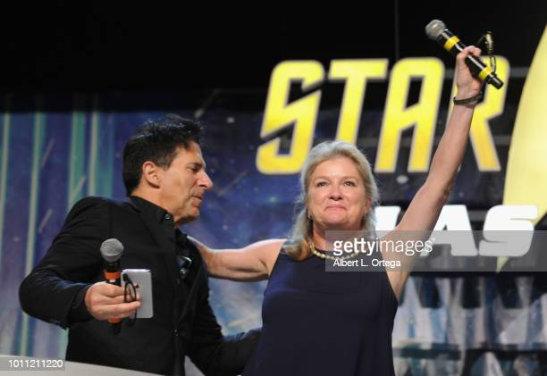 Adam Malin introduces actress Kate Mulgrew on Day 3 of Creation Entertainment's 2018 Star Trek Convention Las Vegas at the Rio Hotel Casino on August...