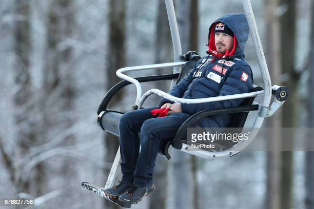 Adam Malysz competes in the individual competition during the FIS Ski Jumping World Cup on November 19 2017 in Wisla Poland