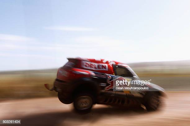 Adam Malysz of Poland and Xavier Panseri of France in the MINI ALL4 RACING for ORLEN XRAID TEAM compete in the Dakar Rally Prologue on January 2 2016...