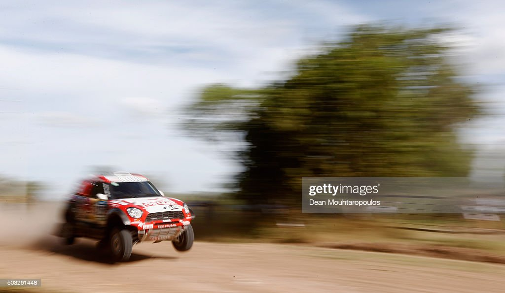 Adam Malysz of Poland and Xavier Panseri of France in the MINI ALL4 RACING for ORLEN X-RAID TEAM compete in the Dakar Rally Prologue on January 2, 2016 outside Buenos Aires near Ariecifes, Argentina.