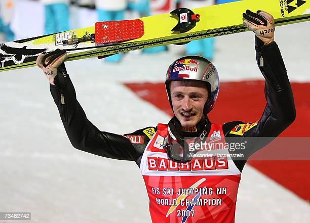 Adam Malysz of Poland celebrates winning the Gold Medal after winning the Normal Hill Individual Event during the FIS Nordic World Ski Championships...