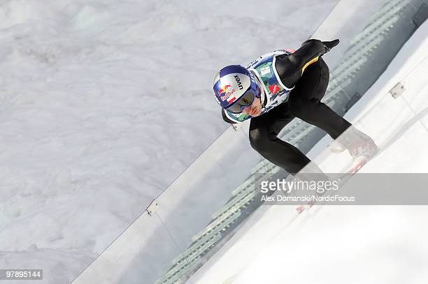 Adam Malysz of Poland competes during the individual event of the Ski jumping World Championships on March 20 2010 in Planica Slovenia